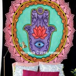 Multi Colorful Lotus Hand Hamsa Wall Tapestry