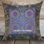Blue Four Mandala Circle Silk Brocade Throw Pillow Case