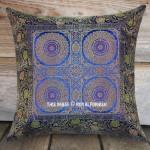 Blue Four Mandala Circle Silk Brocade Throw Pillow Case