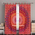 Red Indian Mandala Window Curtains Cotton Drape Balcony Room Decor Curtain Set
