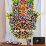 Hand Painted Colorful Psychedelic Hamsa Hand Yoga Wall Tapestry