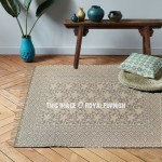 Beige & Grey Decor Floral Printed Outdoor Indoor Indigo Dhurrie Rug 3'X5'