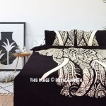 Black & White Asian Big Elephant Duvet Cover Set with 2 Pillow Cover