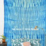 Indigo Zig Zag Shibori Tie Dye Tapestry Wall Hanging Bedspread