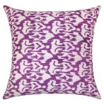 "24"" Purple Decor & Bohemian Accent Ikat Kantha Throw Pillow Cover"
