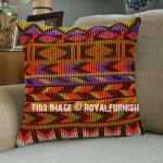 Orange Tribal Boho Designer Throw Pillow Case Cover 16X16