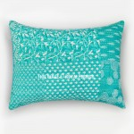 Teal Palm Leaves Boho Patterned Cotton Pillow Shams Set of 2