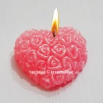 Gift Pack of Pink Rose Designed Heart Shaped Scented Candle - Set of 2