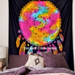 Black Colorful Dream Catcher Cotton Tapestry