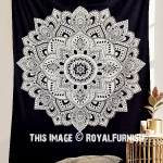 Black & White Lotus Mandala Wall Tapestry