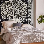 Black & White Queen Elephant Tree Border Wall Tapestry
