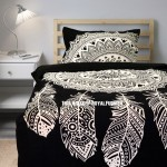 Twin Black & White Dream Catcher Mandala Duvet Cover with One Pillow Sham
