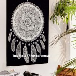 Black & White Lotus Dream Catcher Fabric Poster