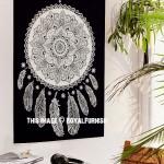 Black & White Lotus Dream Catcher Fabric Poster
