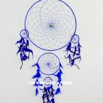 Blue Boho Inspired Big Dream Catcher Wall Hanging
