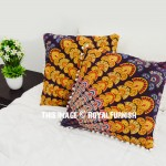 Maroon & Yellow Decor Peacock Wings Mandala Throw Pillow Cover Set of 2