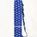 Blue Flower Printed Cotton Boho Yoga Mat Bag