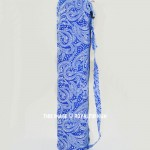 Blue & White Paisley Printed Cotton Yoga Mat Bag