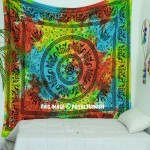 Large Bohemian Colorful Elephants Mandala Wall Tapestry Bedspread
