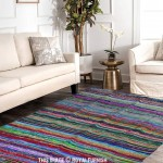 Blue Colorful Hand Woven Striped Chindi Area Rug 3.5' X 5.5 Ft