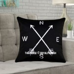 Black Compass Decorative Square Throw Pillow Cover, Cushion Cover