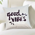White Good Vibes Decorative Throw Pillow Cover, Cushion Cover