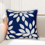 Blue & White Dahlia Flower Burst Petals Decorative Pillow Case, Cushion Cover