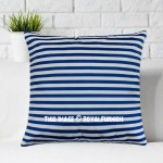 Blue Ticking Stripe Decorative Square Cushion Cover, Pillow Case