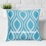 Turquoise Ikat Geometric Decorative Throw Pillow Case, Cushion Cover