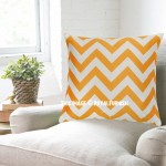 Yellow Chevron Decorative Velvet Pillow Cover, Cushion Cover