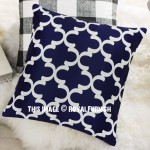 Blue & White Quatrefoil Canvas Decorative Throw Pillow Cover, Cushion Cover
