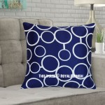 Blue & White Freehand Circle Decorative Throw Pillow Cover, Cushion Cover