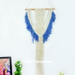 Blue Dye Macrame Wall Hanging 40 Inch Long