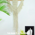 Off White Woven Macrame Wall Hanging Tapestry