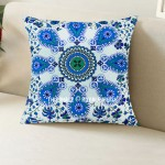 Blue Boho Chic Mandala Throw Pillow Cover 16X16 Inch