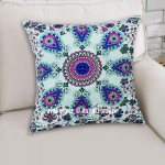 Pink & Green Boho Vibes Indian Mandala Pillow Cover 16X16 Inch