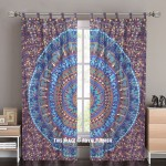 Blue Multi Bohemian Mandala Circle Tapestry Curtain Panel Pair