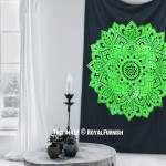 Black & Green Geometric Rangoli Mandala Wall Tapestry