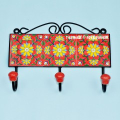 Red Multi Flower Hand Painted Decorative Ceramic Wall Hook