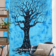 Turquoise Small Tie Dye Wild Tree Of Life Cotton Tapestry Wall Hanging