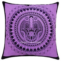 purple decorative hamsa hand printed tie dye square throw pillow cover 16x16