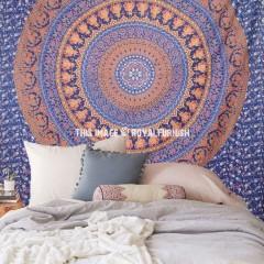 Large Blue Elephants Birds Multi Rings Medallion Mandala Tapestry