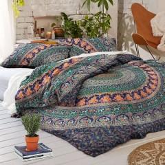 Blue Multi Jumbo Medallion Boho Bedding Mandala Duvet Cover Set With 2 Pillow Cases