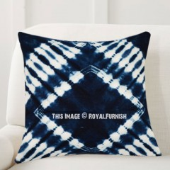 dark blue prism indigo shibori throw pillow cover 16x16 inch