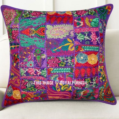 Giant Bohemian Floor Pillows : Giant Purple Decorative Patchwork Bohemian Throw Pillow Cover 24X24 Inch - RoyalFurnish.com