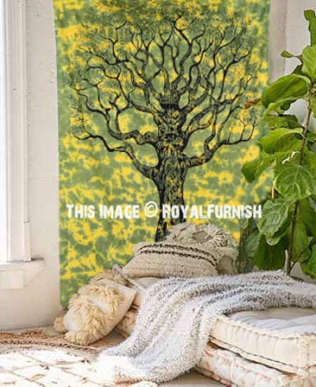 Twin Size Green Tree Of Life Tapestry Wall Hanging Decor Art ...