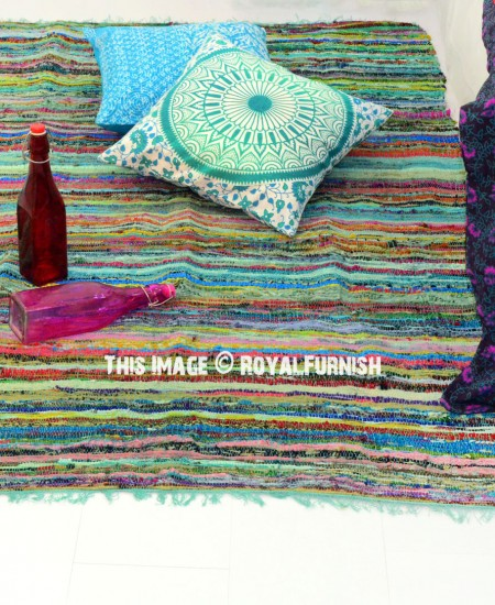 Indian Hand Woven Recycled Fabric Chindi Rag Rug