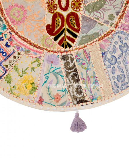 Giant Bohemian Floor Pillows : Giant White Multi Bohemian Handmade Round Floor Pillow Case - RoyalFurnish.com