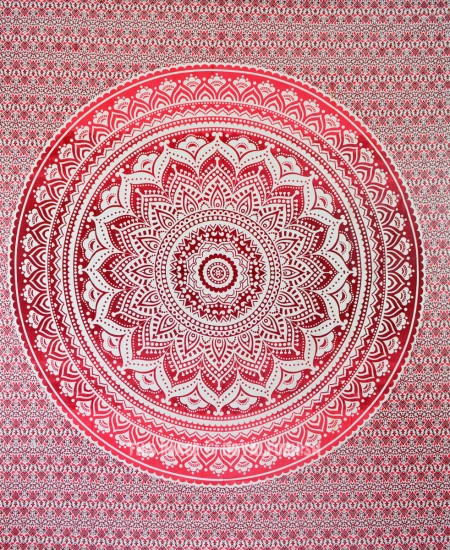 Maroon Floral Ombre Mandala Wall Tapestry Bedding Beach Throw