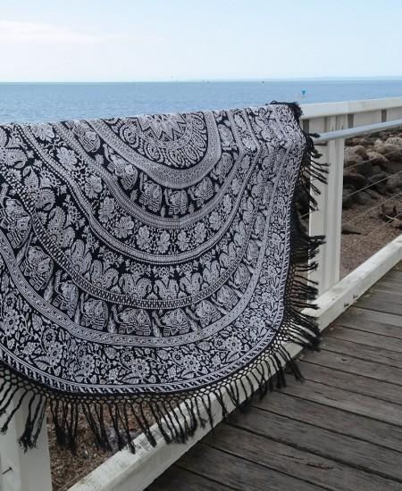 Beach Round Towel Round Tablecloth Elephant Black and White Mandala Fringed Roundie